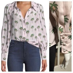Alice+Olivia palm print top blouse
